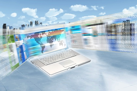 Internet concept illustrated with websites flashing on laptop screen in highspeed movement and futuristic cityscape as background