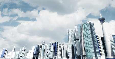 futuristic city: Modern city background  Illustrated with modern architectural commercial and office building with blue sky and futuristic design environment  Stock Photo