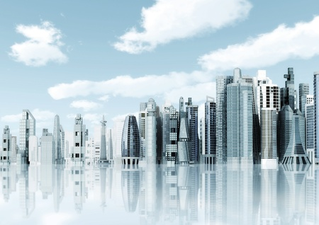 realestate: Modern city background  Illustrated with modern architectural commercial and office building with blue sky and futuristic design environment  Stock Photo