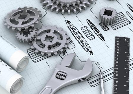 ingenieria industrial: Ingenier�a mec�nica y t�cnica concepto de dise�o o la reparaci�n de una m�quina