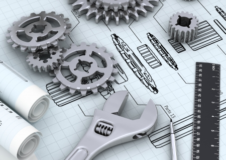 technic: Mechanical and technical engineering concept of designing or repairing a machine Stock Photo