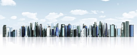 Modern city background  Illustrated with modern architectural commercial and office building with blue sky and futuristic design environment  Stock Photo