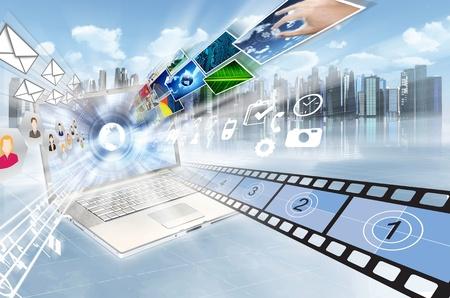 인터넷과 멀티미디어 공유 개념 스톡 콘텐츠