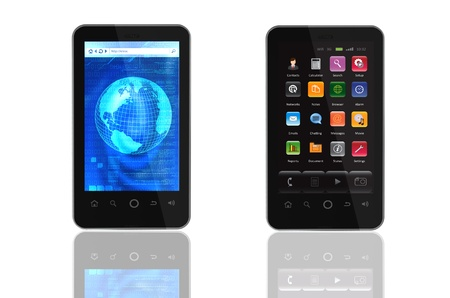 Two generic smart phone templates isolated in white  One with browser screen another with its main menu screen  You can change the screen to suit your need  If you change the screen make sure to also change it  Stock Photo