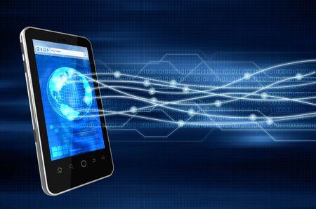 Immagine concettuale di come uno smart phone connettersi senza fili ad altra fonte di comunicazione in tutto il mondo