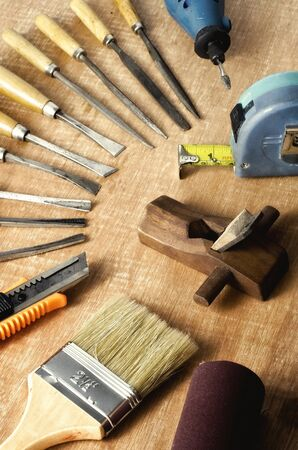 sculpting: Do it yourself woodworking   carpenter tools in still life