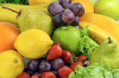Fresh Fruit and Vegetables shot instill life concept Stock Photo