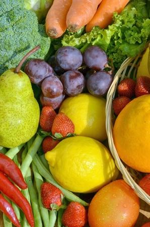 Fresh Fruit and Vegetables shot instill life concept. Picture taken under a warm morning light