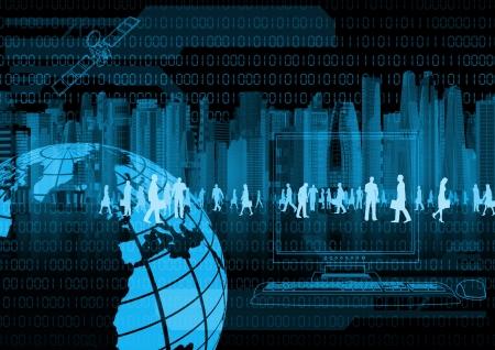 Illustratie van virtuele mensen die zaken doen in de virtuele wereld Stockfoto