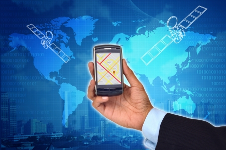 global positioning system: Conceptual image of Global Positioning System (GPS) with a smart phone