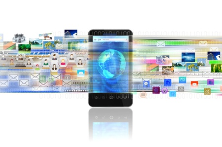 A concept of sharing digital content, entertainment, networking and doing business in a smart phone Imagens - 14670987