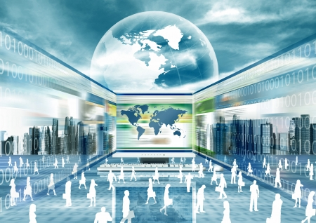 information international: Illustration of virtual businessman doing business in virtual world Stock Photo