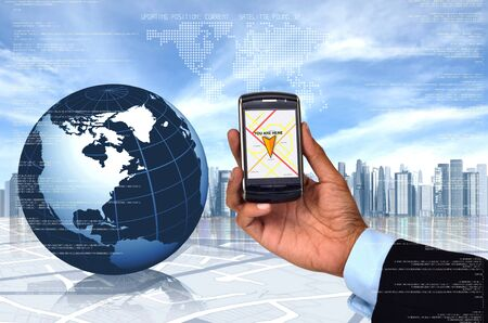 global positioning system: Conceptual image of Global Positioning System  GPS  with a smart phone
