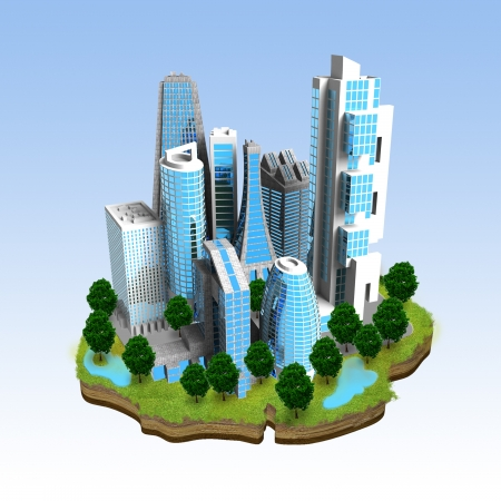 Miniature model of a modern city concept build on top of a small piece ofgreen environment land  Great image for website icon, business  or book illustration