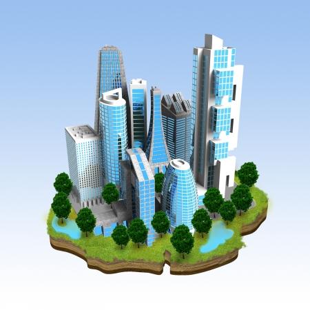 Miniatuur model van een moderne stad begrip op te bouwen op de top van een klein stukje ofgreen omgeving land Groot beeld voor website icon, bedrijf of boekillustratie