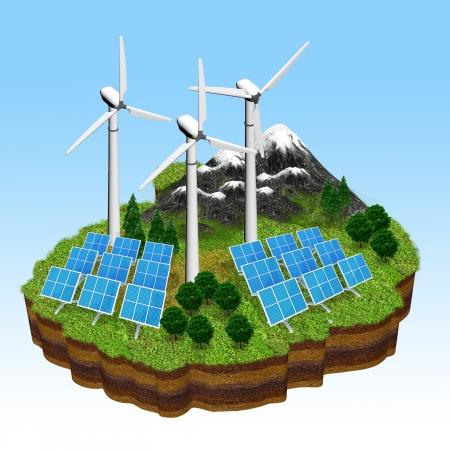 Conceptual obraz ilustracją zrównoważony i przyjazny dla środowiska źródła energii