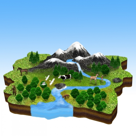 natural resources: A concept of natural environment on a piece of land  With green forest, mountain, river and animals