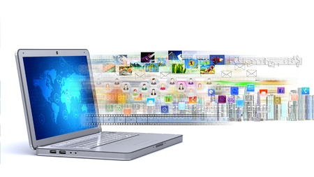 Concept of a laptop for sharing multimedia and business on internet Stock Photo - 15805695