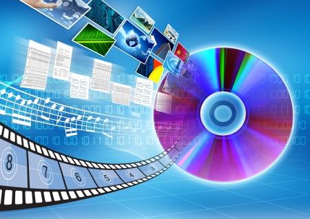 Conceptueel beeld over hoe een cd of dvd als opslagmedium om data, nummer, afbeelding of film op te slaan Stockfoto