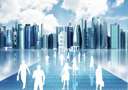 futuristic city: Illustration of people doing business inside the virtual world of internet