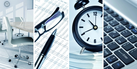 Picture collage of office life and contemporary business 写真素材
