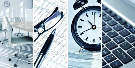 Foto collage van het leven op kantoor en hedendaagse zakelijke