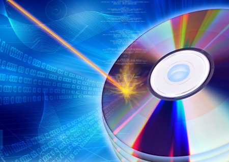 The concept of inserting digital information with burning process into a CD or DVD Фото со стока