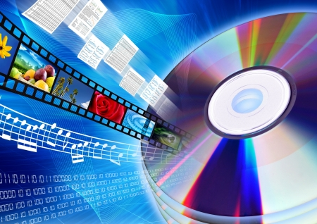Conceptual image about how a CD or DVD as a content holder of multimedia data such as movie, song, files, document, archive, software or database Stock Photo