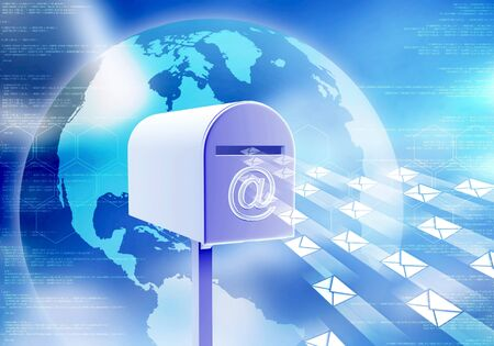 Conceptual image about electronic mail  How internet receive and sending email with mailbox  photo