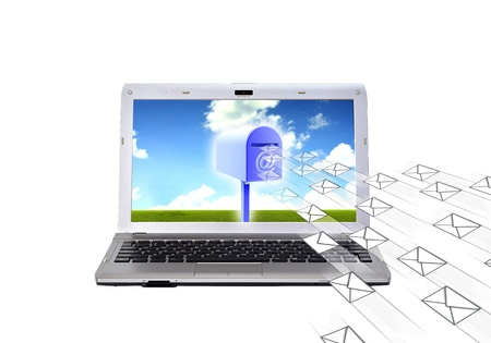 Conceptual image about electronic mail  How a computer  laptop  receive and sending email with mailbox