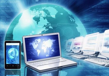 Internet concept of achtergrond van de wereld van de informatietechnologie en de gadget te illustreren om toegang te krijgen