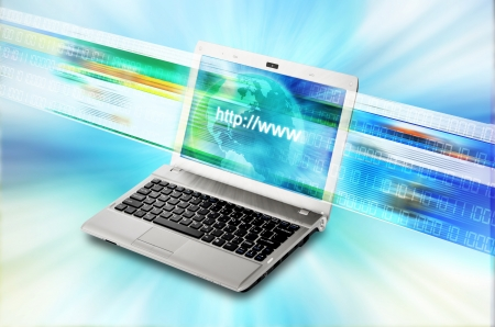 Conceptual image about internet and information technology with websites flashing on a laptop computer screen