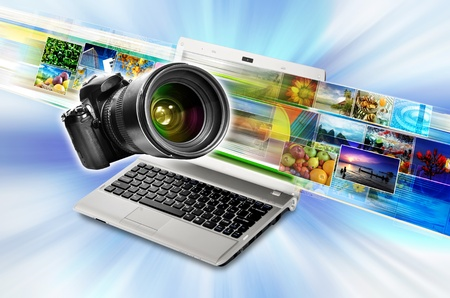 dslr camera: Photography, digital imaging and image sharing technology concept