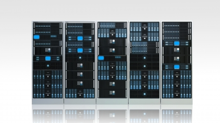 3d rendered image of Computer Server rack on white