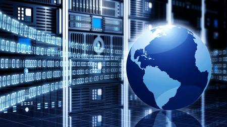 Internet or Information technology conceptual image  With a globe placed in front of computer server cabinets 写真素材
