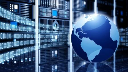 Conceptuele beeld technologie internet of Information Met een wereldbol geplaatst voor computer serverkasten