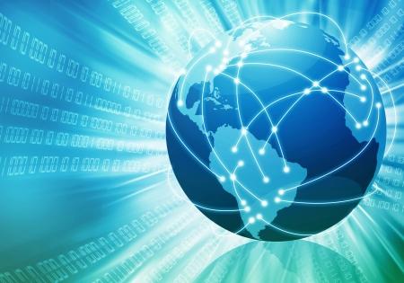 Conceptueel beeld van de wereldwijde internet verbinding met lijnen te verbinden plaatsen over de hele wereld