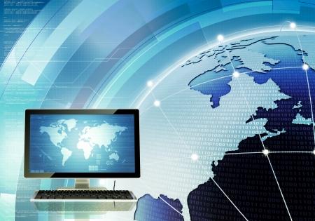 Een concept van hoe de computer aangesloten en communiceren over de hele wereld via internet en server U kunt het scherm te veranderen op de hoofdcomputer naar uw wensen