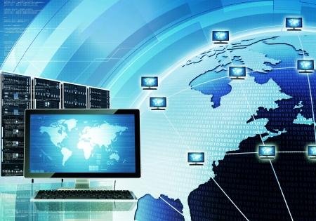 Ein Konzept, wie Computer verbunden und kommunizieren auf der ganzen Welt über das Internet und Server können Sie den Bildschirm auf Hauptrechner ändern, um Ihre Bedürfnisse Standard-Bild - 16802486