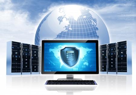 Internet conceptueel beeld Beveiligde internet netwerk verbinding met de computer, servers en globe