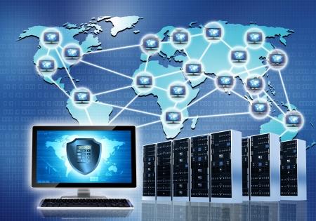Internet conceptueel beeld Beveiligde internet netwerkverbinding