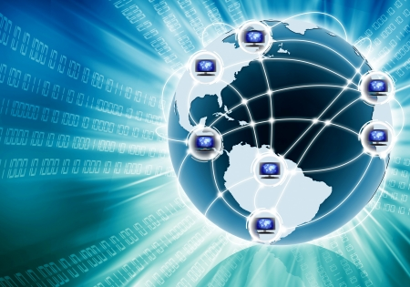 Conceptual image of how internet connects computer from all over the world