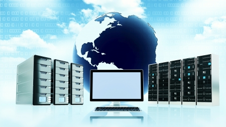 Cloud server conceptual image with blank template on computer screen