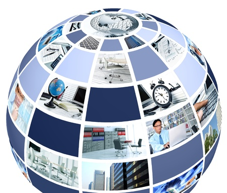 audit: Office and professional work concept presented in multi picture collage in the shape of a globe Stock Photo