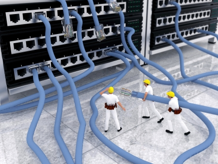 troubleshooting: Conceptual image of computer network problems and maintenance with engineers carrying network cable but dont know where to connect Stock Photo