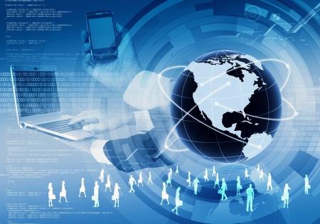 Una imagen conceptual de negocio de telefonía móvil en todo el mundo el uso de la tecnología de Internet Foto de archivo