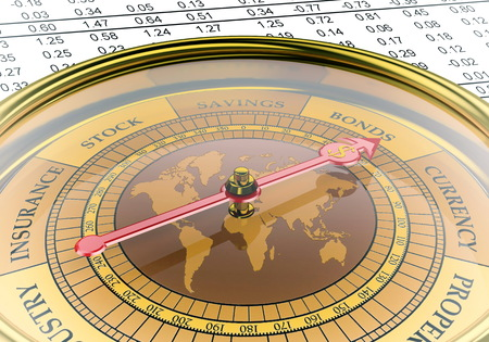 insurance consultant: A  conceptual image for financial and business genre  A compass that can show you the money and the profit  Stock Photo