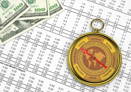 A  conceptual image for financial and business genre  A compass that can show you the money and the profit  photo