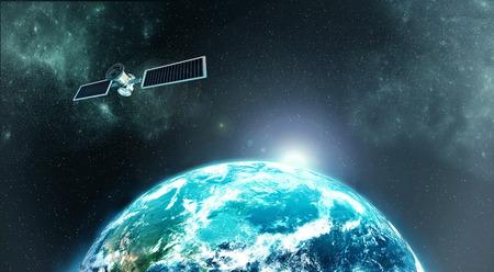 Hoge resolutie foto van Aarde atmosfeer vanuit de ruimte met een Satellie op baan