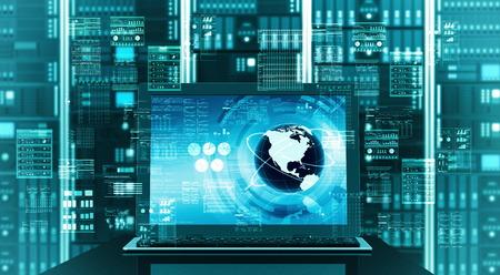 Concepto visual de una internet laptop conectada con el fondo rack de servidores haciendo cálculo prácticamente un sofisticado procesamiento de datos Foto de archivo - 27755348